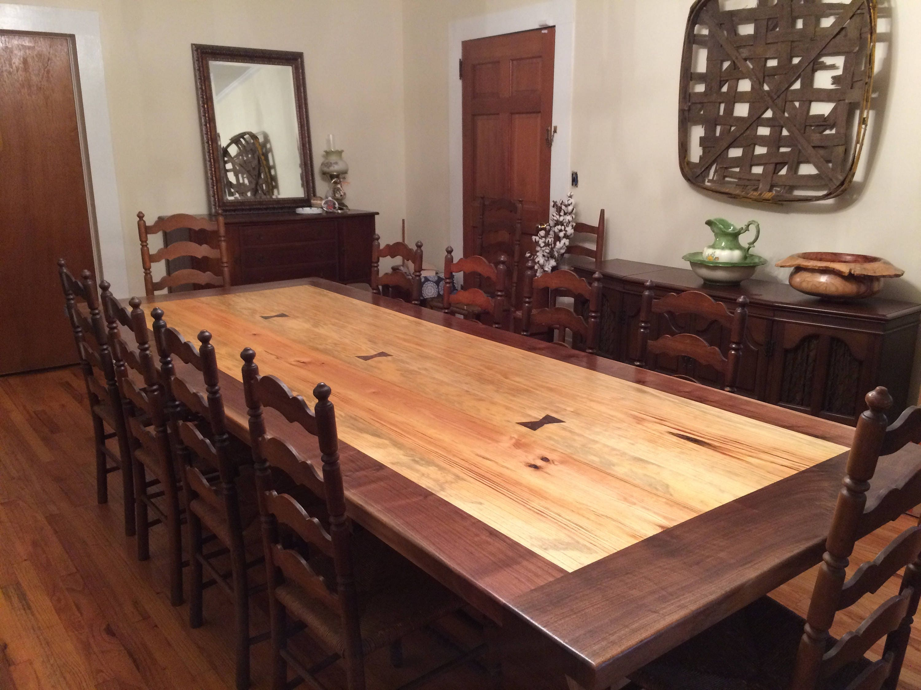 Pine and walnut dining room table for Pine dining room table