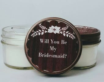Bridesmaid Candles,set of 6-12,custom favors,bridal shower favors,winter wedding favors,personalized candles,rustic wedding,natural candles