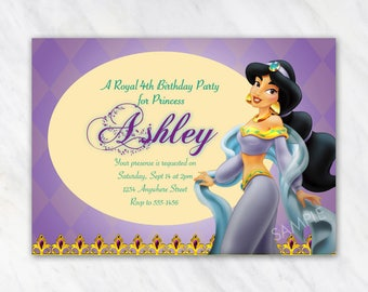 Jasmine Invitation for Birthday Party - Disney Princess, Aladdin - Printable Digital File