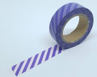 Washi Tape geometric pattern stripes diagonal 10Mx15mm purple and white