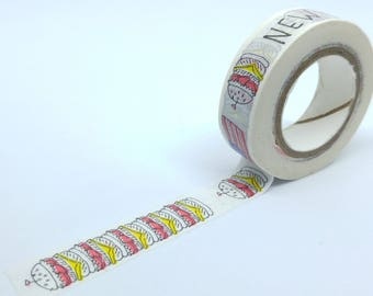 Washi Tape New York and burgers 10Mx15mm yellow, white and Red