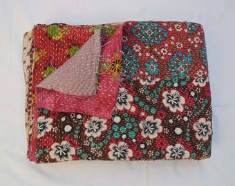 Amazing recycle fabric Handmade stitched Kantha Quilt and Twin Vintage Kantha throw blankets, Patchwork Quilted Bedcover qulits