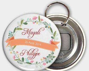 Keychain bottle opener, wedding flower theme