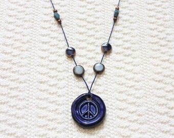 Blue Clay Peace Sign | Beaded Silk Thread