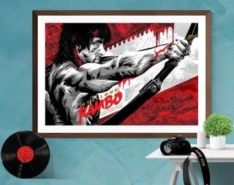 Rambo : First Blood Part II Alternative Artwork Movie Print Poster Sylvester Stallone Canvas / Silk / Matt,A4 , A3 , A2