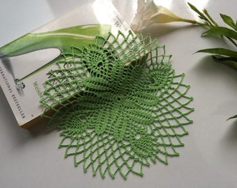 Mini green doily, lime green doily, crochet lace doily, wedding lace doily, table decor, table topper, housewarming gift