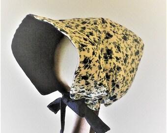 Béguin /bonnet/chapeau , réversible  ,velours milleraies et coton,bonnet fille ,béguin d'hiver , chapeau fille ,cadeau de naissance .