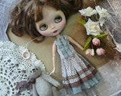 Blythe dress, Blythe clothes, Dress for Blythe,  polka-dot dress, vintage dress, Pullip dress, pullip clothes,  blue dress