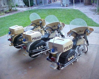 3 Police Toy Motorcycles - One Foot Long