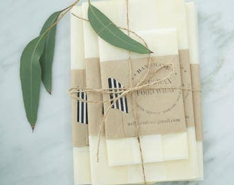 3 Beeswax BAGS | Organic, Reusable Food Wrap |  Biodegradable | Handmade with 100% natural ingredients.