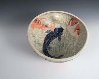Rippled Koi Pond Bowl with 6 Fish Inside and Outside // Center Piece // Serving Piece