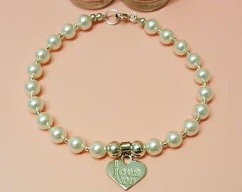 White Pearl Heart Charm Bracelet, Sterling Silver Charm, 'I Love You' Heart Charm, White Pearls, Silver Beads, Swarovski Pearl Bracelet