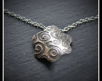 Silver Large Flower Pendant or Hijab Pin - Silver Precious Metal Clay (PMC), Handmade, Necklace, Hijab Pin - (Product Code: ACM082-17)