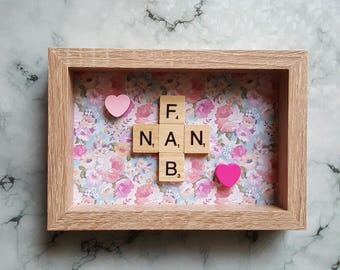 Fab Nan Scrabble Art Picture, Oak Effect Frame 6x4, Wall Art, Scrabble Tiles, Mother's Day Gift