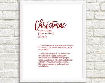 Funny Christmas Definition - Unframed 11x14 Christmas Holiday Home Decor Poster Sign - Christmas Decoration