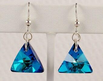 Blue Swarovski Earrings, Swarovski Bermuda Blue Triangle, Blue Crystal Earrings, Swarovski Triangle, Ocean Blue, Caribbean Blue Green