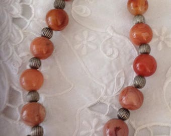 Bedouin jewelry. Carnelian Pearl Necklace with silver bullets