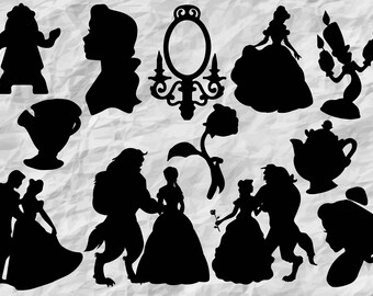 12 Beauty and the Beast Silhouettes | Beauty and the Beast SVG cut files | Clipart | digital | printable | vectors | prints | cut files