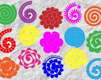15 Rolled Paper Flowers | Rolled Paper Flowers bundle | Rolled Flowers SVG | Paper Flowers | Origami