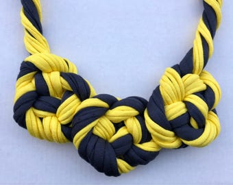 Twisted Knotted Grey and Yellow Necklace, Statement Necklace, Gift for Her, T-shirt Yarn Necklace, Fabric Necklace, Handmade Necklace