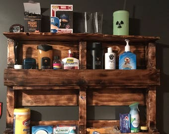 Rustic pallet wall shelves