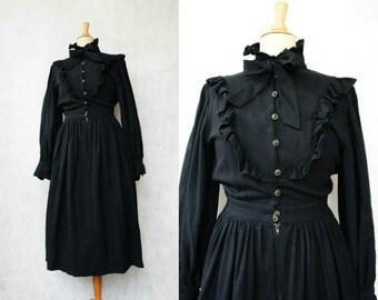1970s Black Wool Prarie Dress