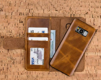 Samsung Galaxy S9 Plus Leather Wallet Case, Leather S9 Wallet, S9 Plus Leather Case, Galaxy S9 Wallet Case, Samsung Galaxy S9 Cases - TAN