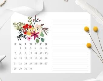 2018 Calendar With Notes, 2018 Calendar Printable, Letter Size Printable Calendar, Floral, 2018 Calendar Desk Or Wall, Download Printable