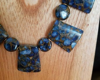 Blue composite stone necklace and earring set