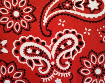 Red paisley handkerchief 100% cotton kerchief