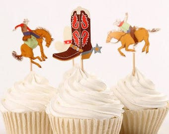 READY TO SHIP Cowboy Themed Cupcake Toppers Picks, Party Picks, Cake Toppers, Cake Topper Pick, Cupcake Picks, Birthday, Baby