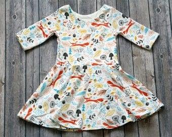 Fox Dress. Fall Dress. Forest Dress. Baby Dress. Toddler Dress. Little Girl Dress. Twirl Dress. Twirly Dress. Play Dress. Fox Twirl Dress.