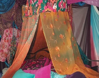 Bohemian Bed/Chair Canopy - Meditation Tent - Festival Tent - Silent Retreat - Reading/Study Nook - Garden Canopy - Dorm Room