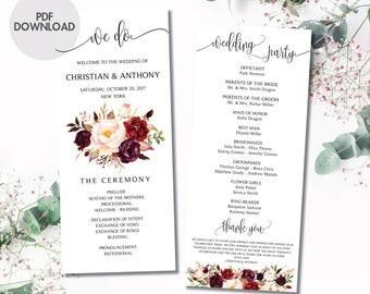 Wedding program template, Boho wedding program, Wedding ceremony programs, Wedding Program Fan, We do, ceremony programs, PDF Download, #25