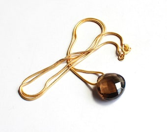 1Pc 925 Sterling Silver 100% Natural Smoky Quartz 15mm heart Briolette Cut Jewelry Pendant Gemstone 18'' Long Gold Plating Chain Necklace
