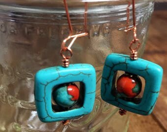 "Turquoise Howlite Square, Rust Turquoise  Ocean Jasper Dangle Earrings on Handmade Solid Copper Ear Wires 2 1/4"" Long"