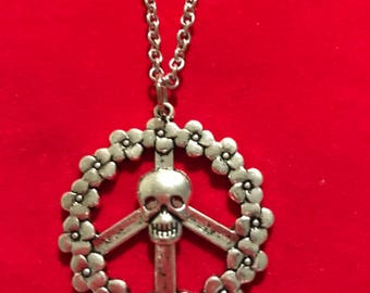 Peace Sign with Skull Necklace