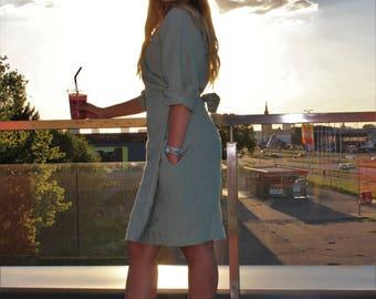 Linen wrap dress-Linen Cloth-Linen dress-Belted wrap midi dress-Casual summer dress-Boohoo 1/2 sleeve Wrap Belted Midi Dress