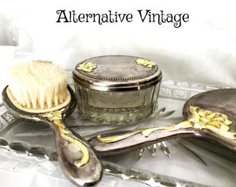 3 piece Vintage Silver plate  vanity dresser set: brush, hand mirror, trinket box - 'simply fabulous darling'