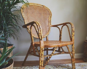 Mid Century Chair Bamboo Furniture Cane Chair Boho Decor Chinoiserie Eclectic Furniture Rattan Furniture Mid Century Modern Furniture