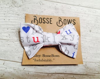 Back to school, toddler bow tie, letter bow tie, baby bow tie, boy bow tie, baby bow tie, clip on bow tie, toddler bow tie, infant bow tie