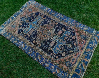 Antique Vintage Persian Handwoven Handmade Wool Area Rug Blue 4x6