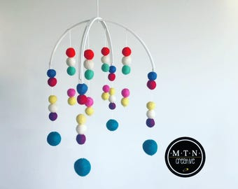 Felt Ball Baby Mobile - Painted Frame