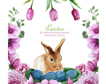 Watercolor Easter clipart,Bunny,pink tulips,Stickers,Invitation clipart,wreaths,branches,tulips,frame,spring,template,flowers,sunny,eggs