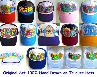Personalized Customized Artwork Hand Drawn Trucker Hats Caps Baseball Snapback NYC Graffiti Style Design Airbrush FREE Shipping in USA