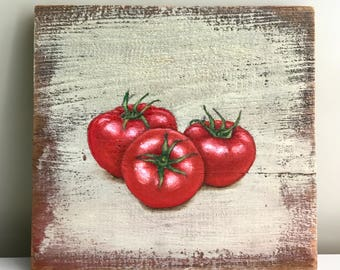 Tomatoes Folk Art Painting on Reclaimed Barn Wood 7 1/2 x 8 by Zata Palange