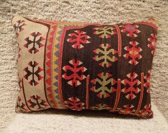 kilim lumbar pillow,16x22inch,40x57cm)kilim pillow cover,home decor,decorative throw pillow,turkish kilim pillow,vintage pillow