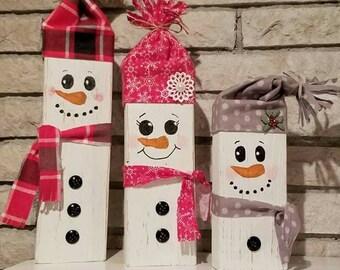 Wooden Block Snowmen, Christmas, Snowman, Rustic Farmhouse