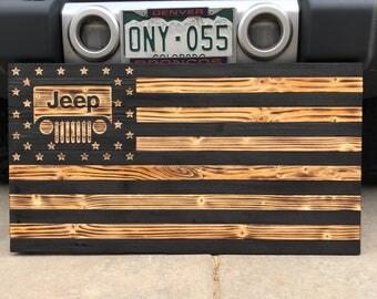 Jeep Rustic Burnt Flag