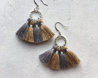 Gray and Tan Tassel Earrings on Silver Plated Hammered Circle